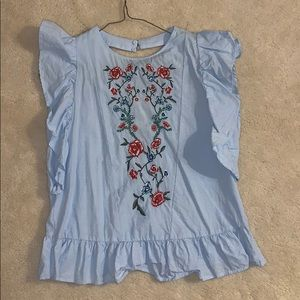 ZARA blouse w open back and embroidery on front